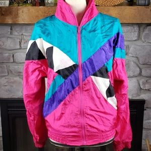 Vtg 80's pink nylon windbreaker zippered jacket PM